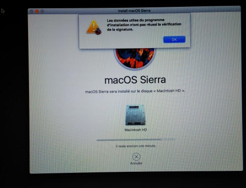 Impossible d'installer Sierra ou High Sierra (10.12 ou 10.13)